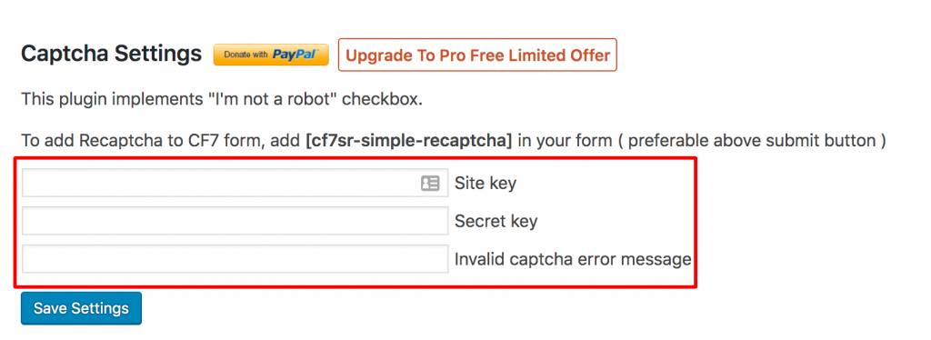 contact form 7 captcha site key and secret key