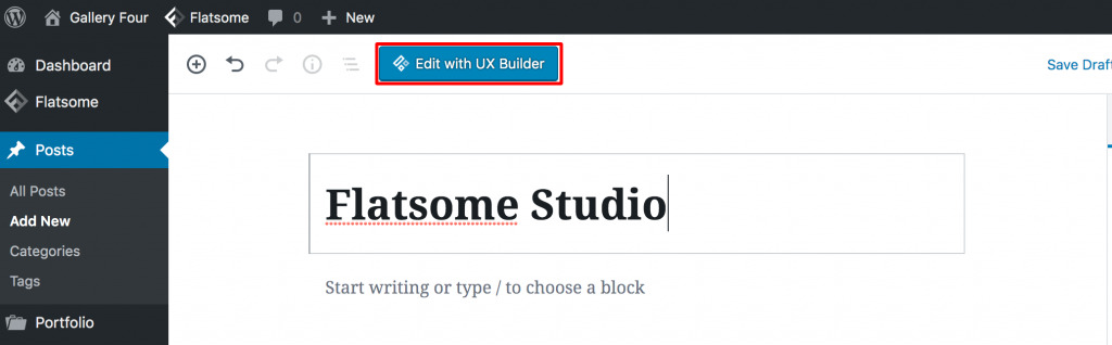 Edit page with UX Builder - flatsome studio