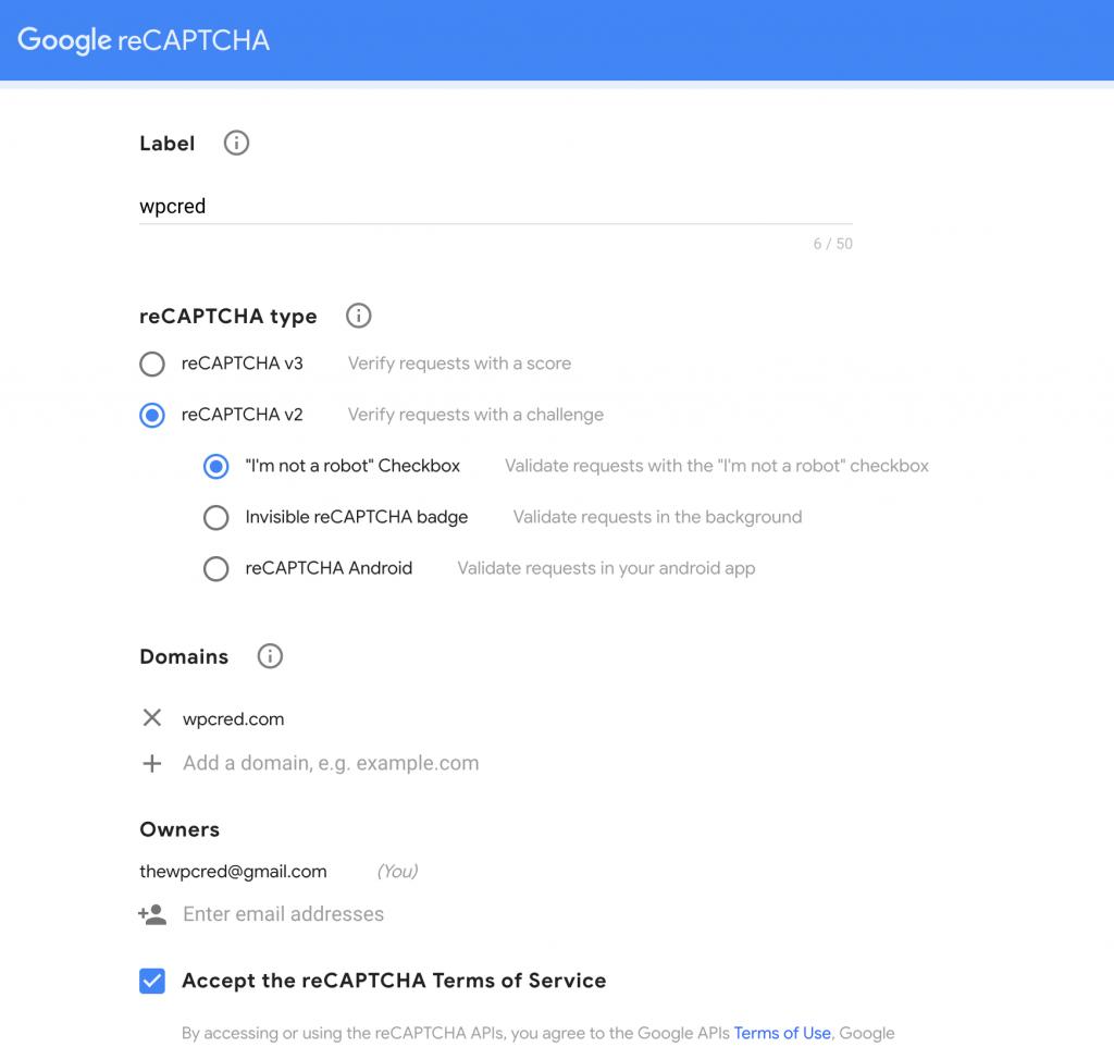 contact form 7 recaptcha api setting