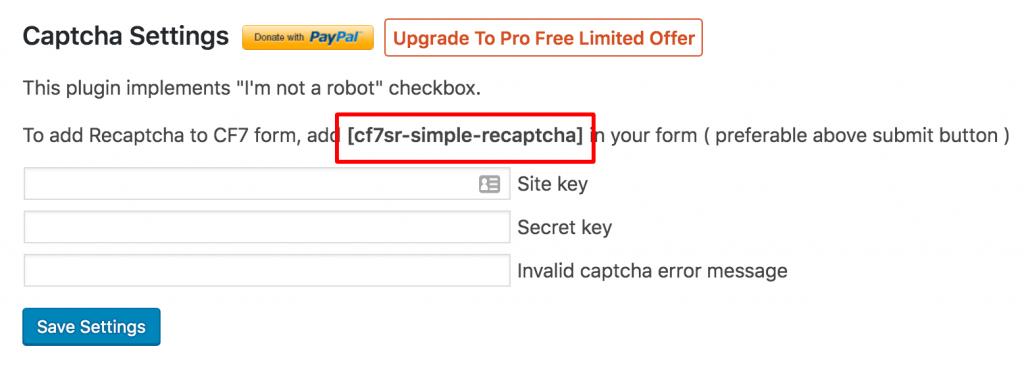 contact form 7 captcha shortcode