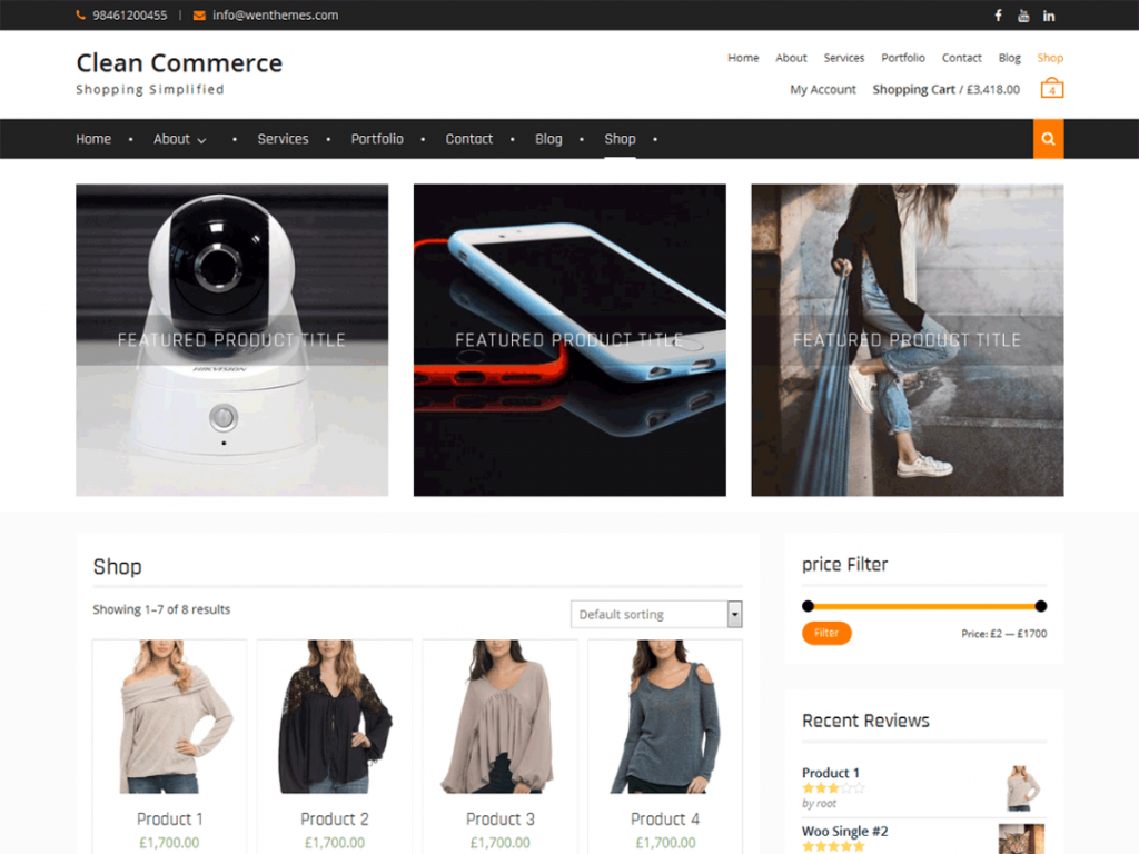 Clean Commerce Free WooCommerce Themes For WordPress