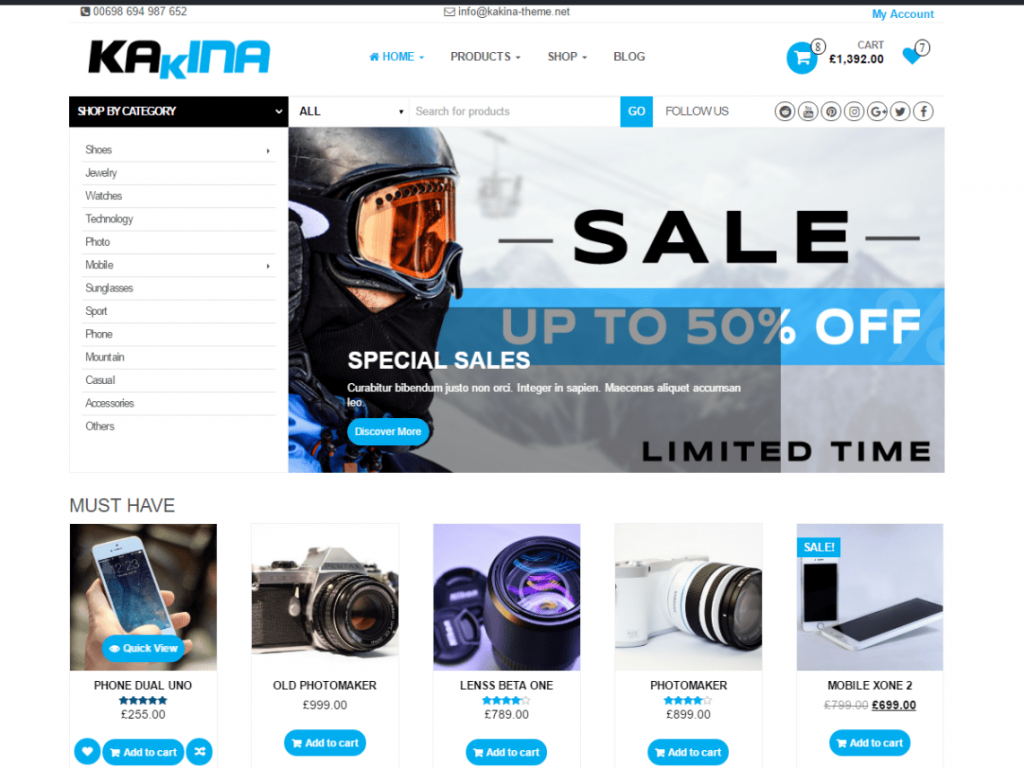 Kakina Free WooCommerce Themes For WordPress