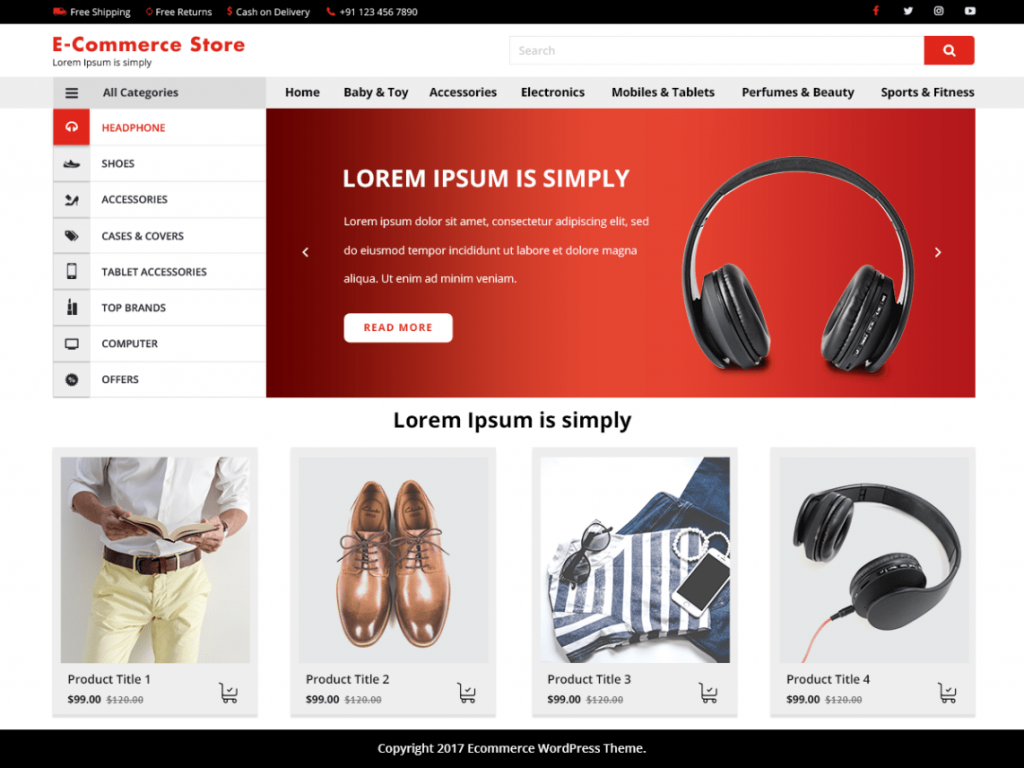 VW E-Commerce Free WooCommerce Themes For WordPress