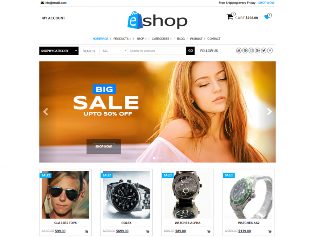 E-Shop Free WooCommerce Themes For WordPress