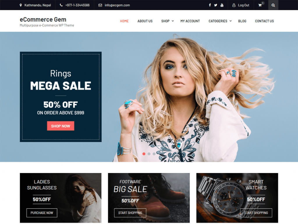 eCommerce Gem Free WooCommerce Themes For WordPress
