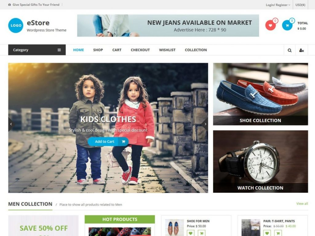 eStore Free WooCommerce Themes For WordPress