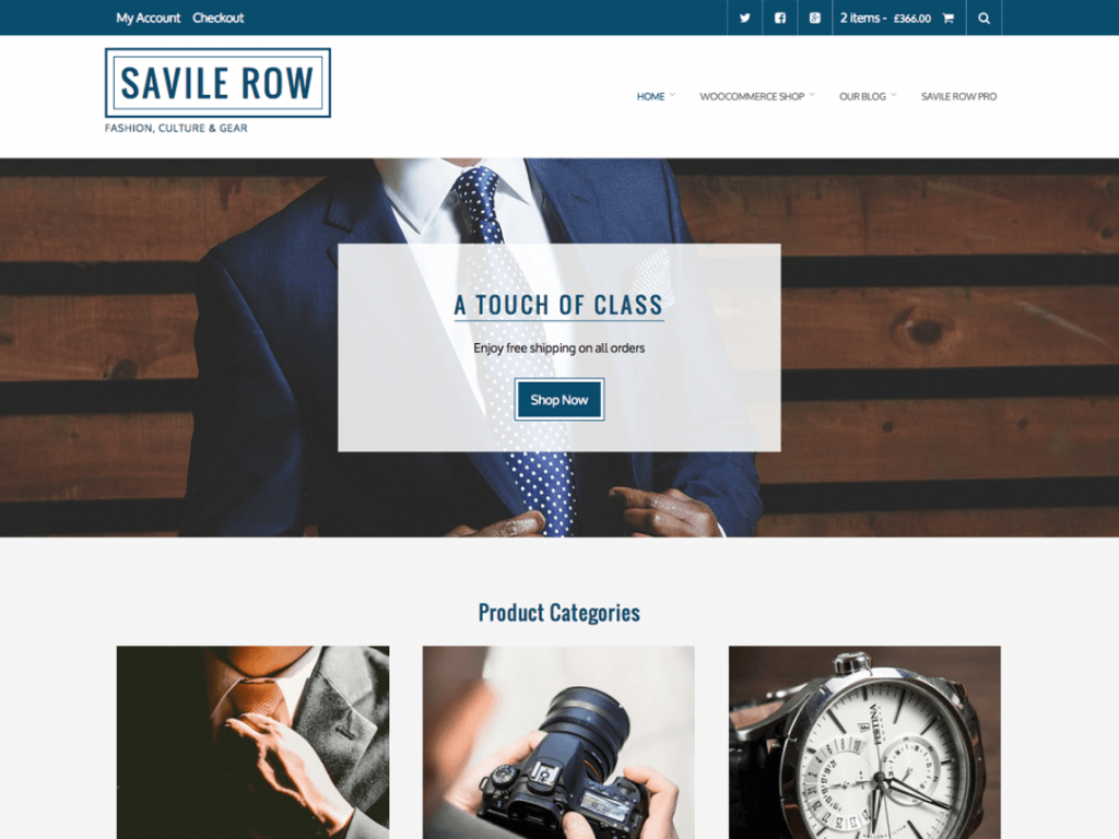 Savile Row Free WooCommerce Themes For WordPress