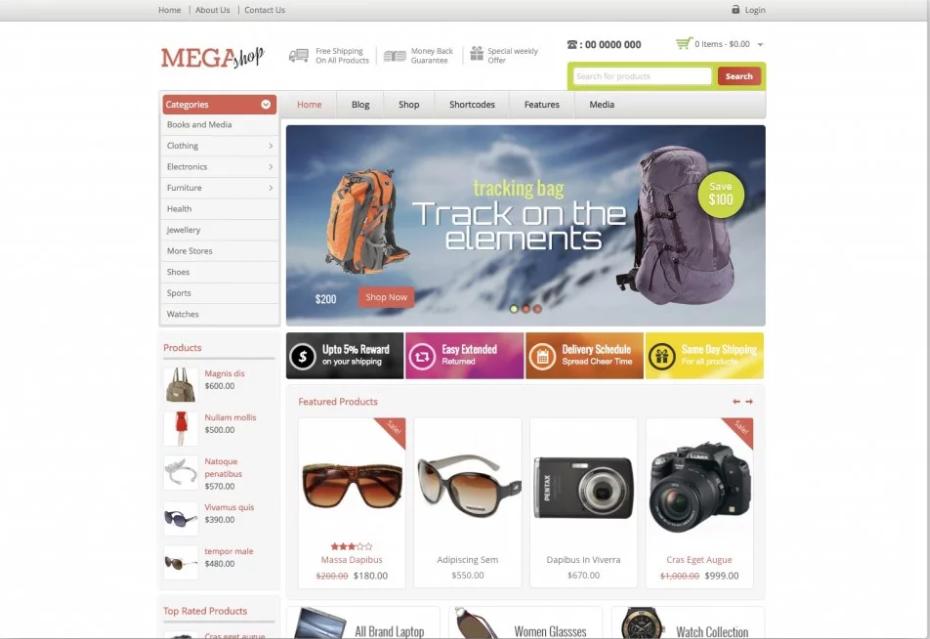 mega shop woocommerce