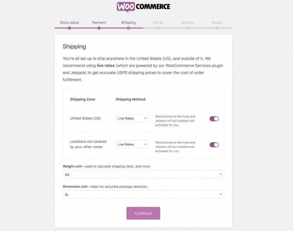 configure installing woocommerce