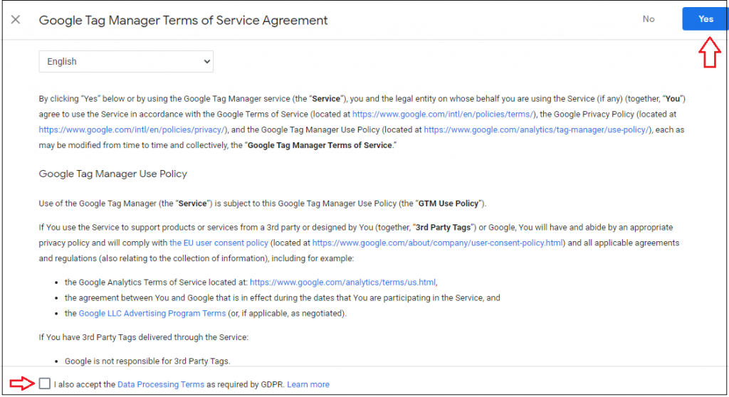 tag manager agreement