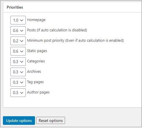 sitemap priority