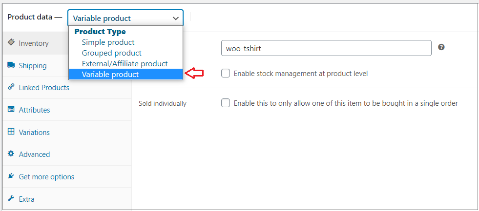variable product section